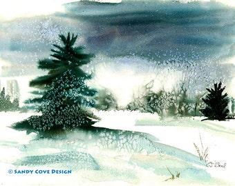 5 x 7 Greeting Card with Envelope - Snow Flakes, Print from Watercolor by E.S. Beal, Winter, Bridgton, Maine, Snow, Trees