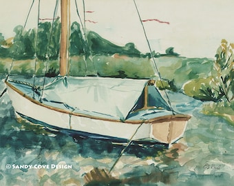 5 x 7 Greeting Card with Envelope - Sailboat at Eaton Dam, Print from Watercolor by E.S. Beal, New York