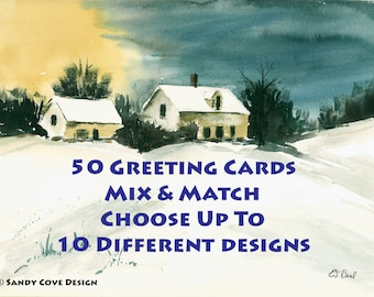 50 Greeting Cards - 5 x 7  with Envelopes - Mix and Match - Choose up to 10 photos or paintings from our shop.