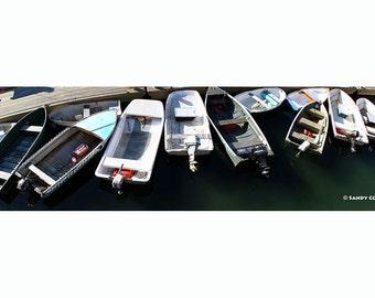 Love Me Tender, up to 36 x 10 Panorama, Bar Harbor, Maine, Seascape, Boats, Tenders, Dock, Acadia, Fine Art, Wall Art