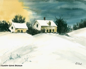 5 x 7 Greeting Card with Envelope - Home for the Winter, Print from Watercolor by E.S. Beal, Winter, Deansboro, New York, Snow, Sunset