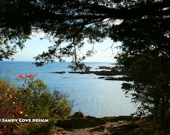 5 x 7 Greeting Card with Envelope - Seen from Marginal Way, Ogunquit, Maine, Ocean, Rocks, Coast, Seashore