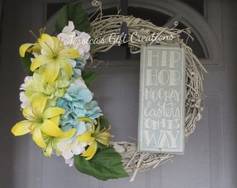 Ready to Ship Easter Grapevine Wreath/Front Door Wreath/Spring Wreath/Twig Wreath/Rustic/Holiday/Lilies/Welcome/Bunny Wreath/Seasonal Decor