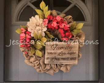 BEST SELLER Made To Order Family Burlap Wreath/Front Door Wreath/Everyday  Decor/Grandparents/Parents Gift/Anniversary Gift/Bedroom Decor