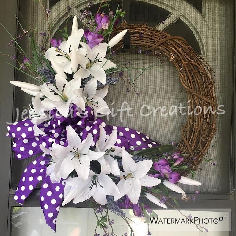 Made to Order Lilies Grapevine WreathFront Door WreathMonogram WreathSpring Door HangerYear RoundBurlap DecorSummer WreathSeasonal