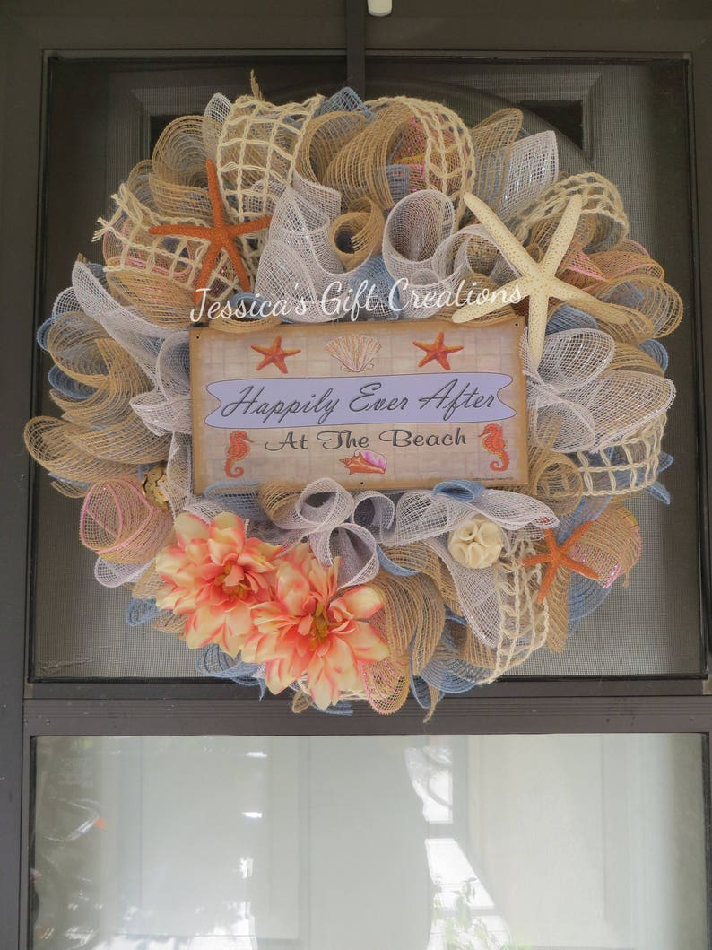 a78bd58e089 Made to Order Beach Mesh Wreath Front Door