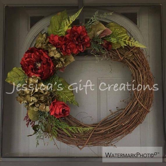 Made to Order Hydrangeas Grapevine WreathPeonies DecorFront Door WreathYear Round WreathEverydayMonogram Door HangerFloral Wreath