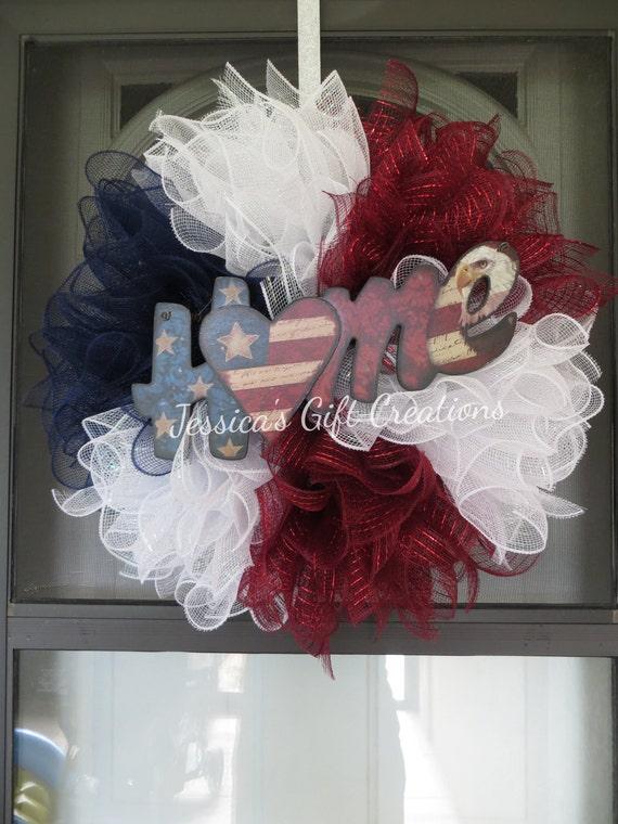 MadetoOrder Patriotic Mesh WreathFront Door WreathRed White and BlueAmerica Wreath4th of July WreathSeasonal Door HangerHoliday Decor