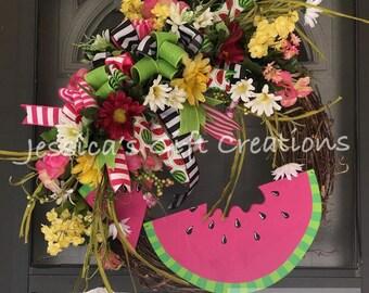 Ready to Ship Watermelon Grapevine Wreath/Front Door Wreath/Spring Door Hanger/Year Round/Burlap Decor/Summer Wreath/Daisies Decor/Seasonal