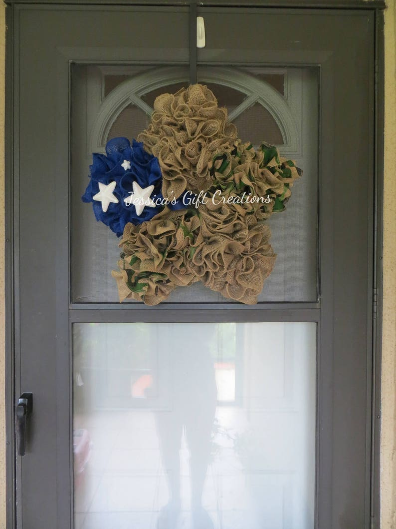 Ready to Ship Star Burlap WreathFront Door Wreath4th of July DecorMilitaryRed White and BlueCamouflageEverydayWelcomeUSAAmerica