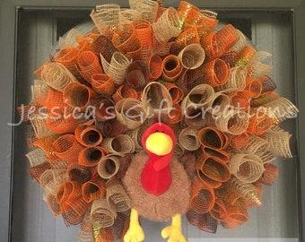 Made to Order Turkey Mesh Wreath/Thanksgiving Wreath/Burlap/Front Door Wreath/Seasonal Wreath/Fall Decor/Autumn Door Hanger/Holiday Wreath