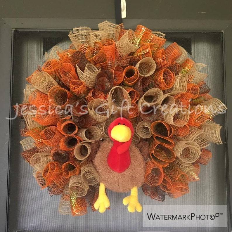 Made to Order Turkey Mesh Wreath/Thanksgiving first picture