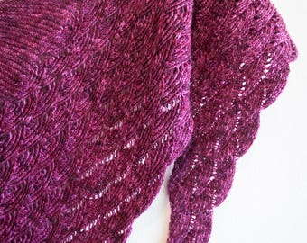 Made to Order Handmade Knitted Cashmere Cascading Seashell Rhinelust Shawl