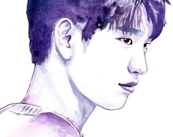 GOT7 A4 Watercolour Portrait Print: Park Jinyoung
