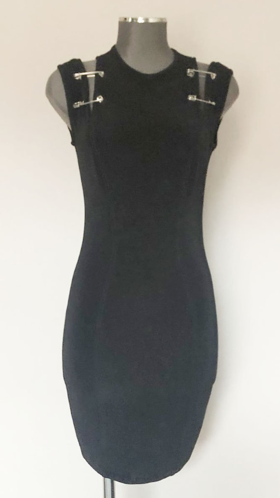 Vintage 90s black skinny bodycon iconic safety pin