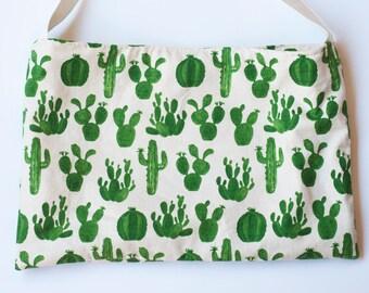 Cactus Print Tote, Cream Cactus Print Large Bag, Cactus Print Medium Sized Tote, Cacti Print Bag, Heavyweight Cotton Cactus Print Tote