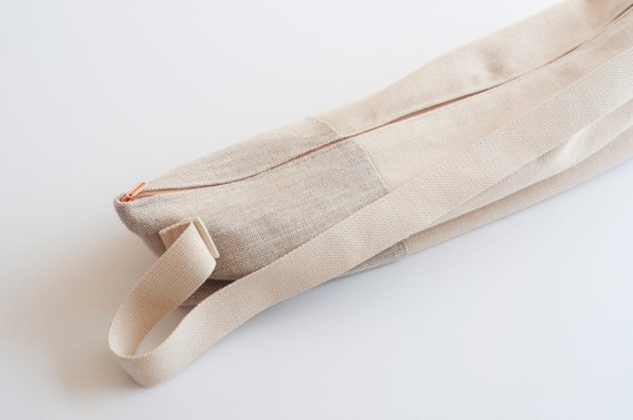 Ivory Linen Yoga Mat Bag With Rose Gold Zipper Etsy
