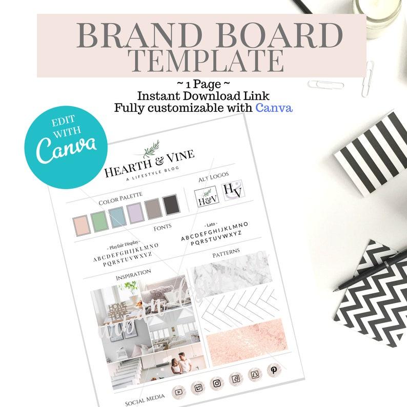 Brand Board Template Branding Blogger Brand Kit for image 0