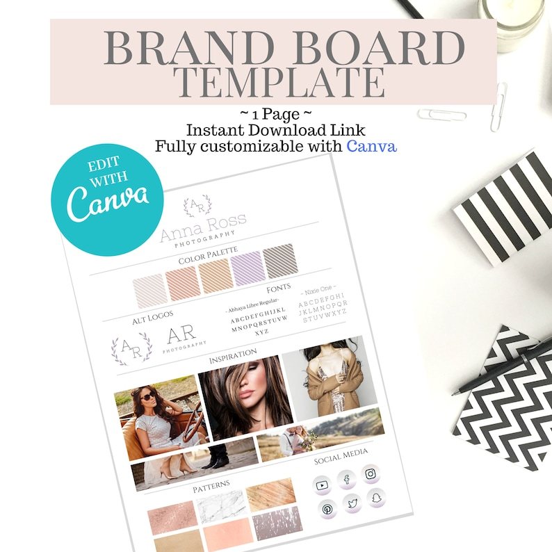 Brand Board Template Branding Blogger Brand Kit for image 0