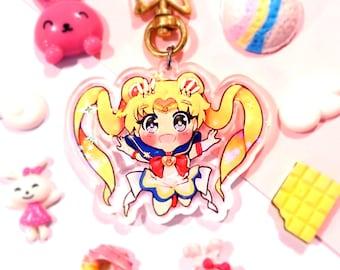 Sailor Moon Usagi Tsukino Holographic Clear Acrylic Charm