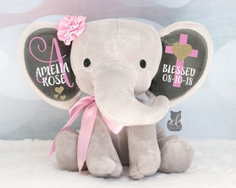 Personalized Elephant, Girls Baptism Gift, Baby Girl Keepsake Gift, Elephant Plush, Christening Gift, Confirmation Gift, New Arrival Gift