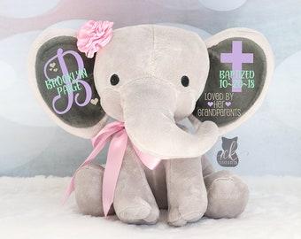 Personalized Elephant Girls Baptism Gift Baby Girl Keepsake Gift Elephant Plush Christening Gift Confirmation Gift New Arrival Gift & Girl baptism gifts | Etsy