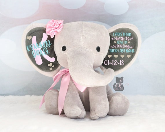 Personalized Elephant Girls Adoption Gift Baby Girl Keepsake Gift Elephant Plush New Arrival Gift Stole Their Hearts Stealing Last Name