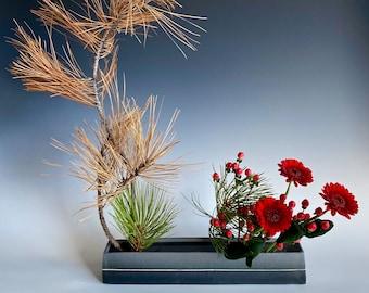 Ikebana Flower Vase, Japanese Ceramic, Narrow Gray