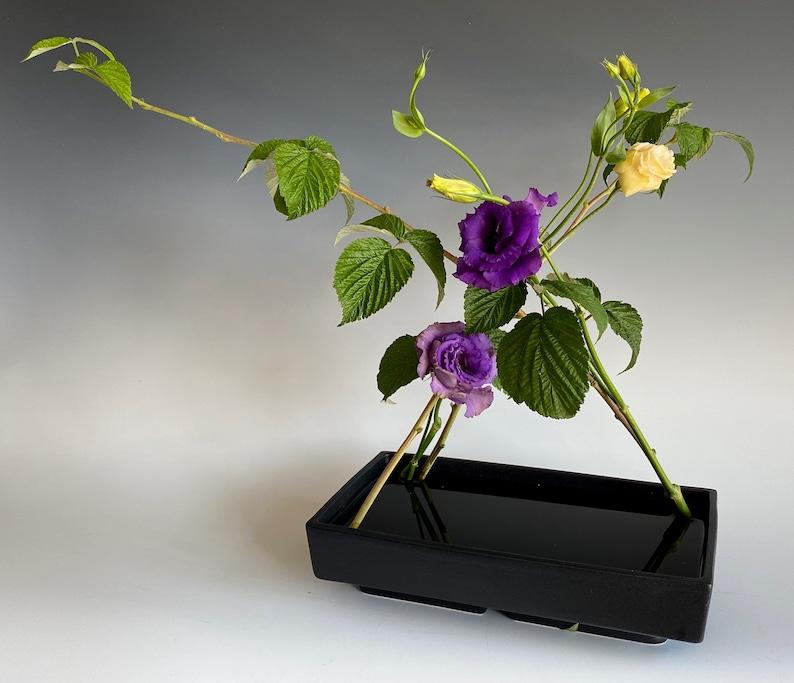 Ikebana Flower Vase Japanese Rectangular Ceramic Suiban image 0