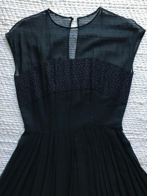 60s Black Sheer Cotton Dress Vintage