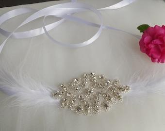 Wedding Headpiece Bridal Headband Ribbon Crystal Accessories  Bridal headband Silver bridal Rhinestone Headband Statement Headpiece Hair