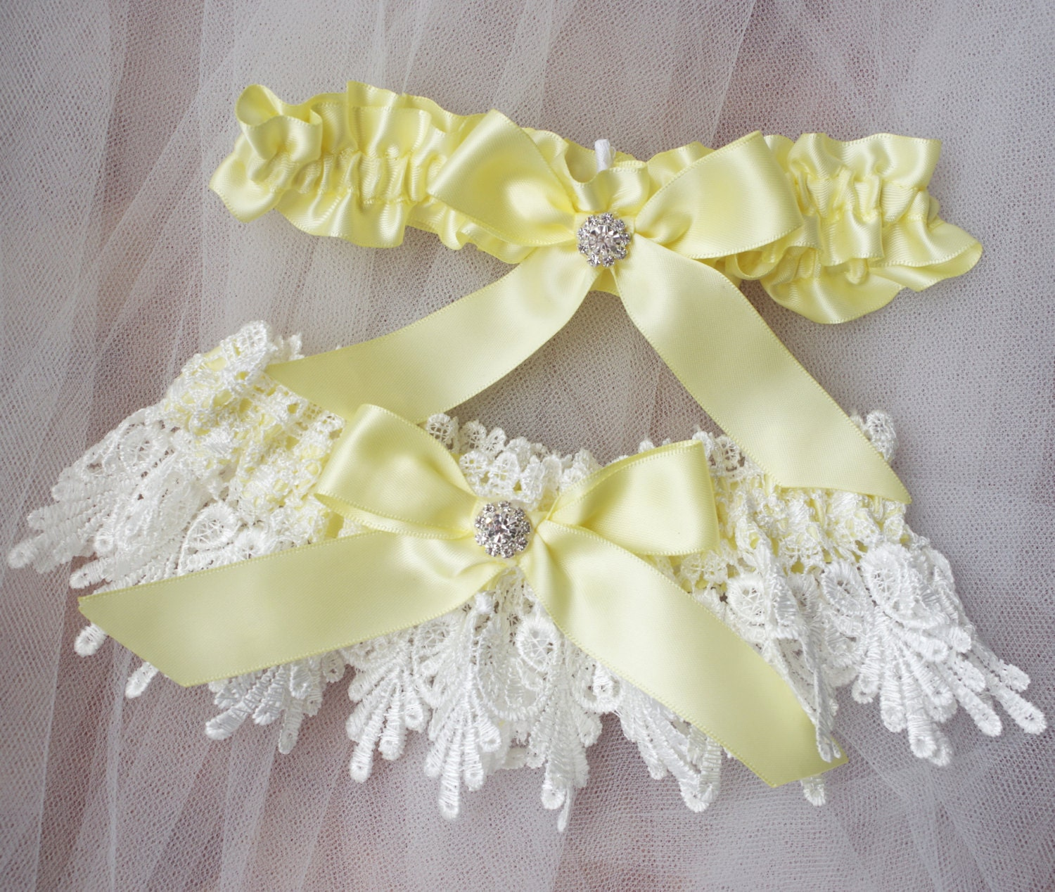 Wedding Garter Bridal Garter Set Lace Garter Yellow White