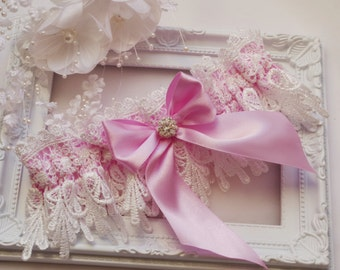 Pink Wedding Garter Bridal Garter Lingerie Garters Bridal Garters Venice Wedding Lace pink garter set bridal accessories ivory wedding garte