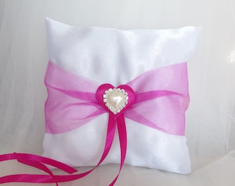 Ring Bearer Pillow  Pink Ring Bearer Pillow Pink  Ivory Ring bearer Pillow  Pink Organza and  Strass Pearl Heart in the center Brooches