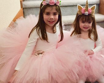 Flower Girl Tutu, Pink Tutu, Pink Tulle Skirt, Adult Tutu, Toddler Pink Tutu, Blush Tutu, Pink Flower Girl Tutu, Dance Tutu, Tulle Skirt