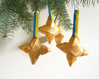 vintage swedish christmas split wood ornaments set of 4 stars tree ornament holiday decor old decorations sweden blue yellow ribbon - Swedish Christmas Decorations