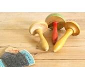 Vintage darning mushroom wood, Sock mending tool, Collectible, mushroom painted set, Sewing supply, Sock darner, home decor