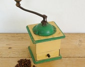 Vintage coffee grinder.Swedish coffee mill metal wood.Farmhouse Country kitchen decor.Coffee lover gift.Green cream beans