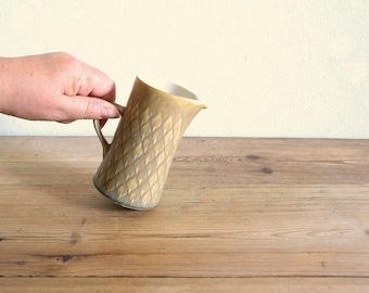 Vintage Relief Kronjyden creamer or small pitcher, Jens Quistgaard, Danish mid century, stoneware milk jug, modern design Scandinavian IHQ