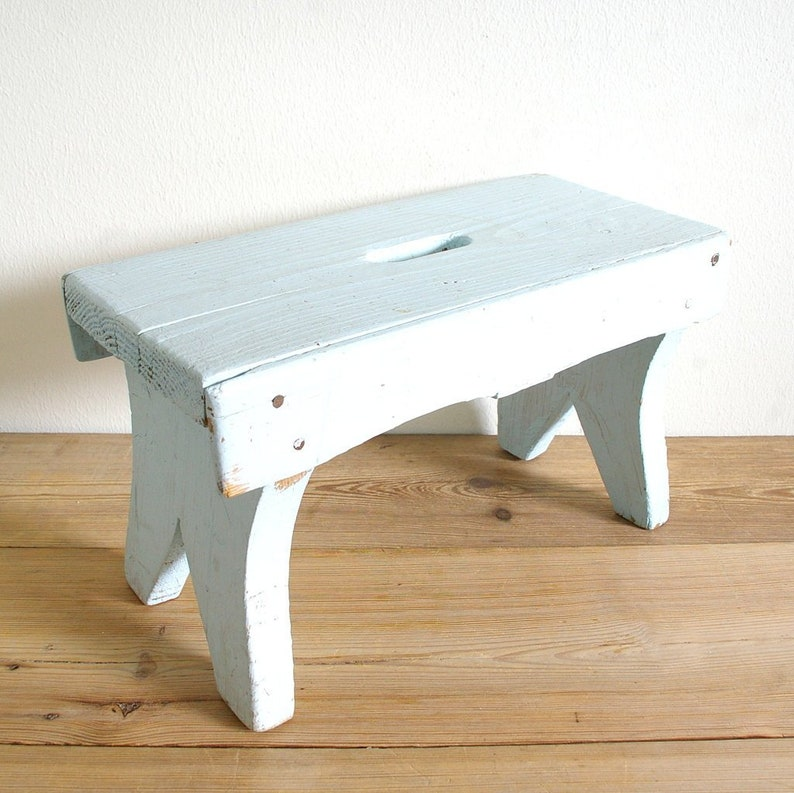 Pleasing Vintage Wooden Step Stool Foot Stool Light Blue Primitive Rustic Bed Side Table Display Decor Country Kitchen Farmhouse Caraccident5 Cool Chair Designs And Ideas Caraccident5Info