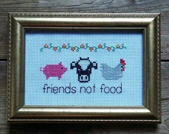 Friends not food cross stitch. Made to order.