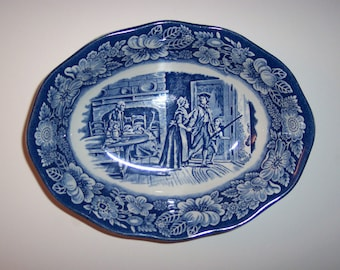 """Vintage Enoch Wedgewood, Staffordshire Liberty Blue China, Oval Vegetable Bowl, 9"""" X 2 1/4"""""""