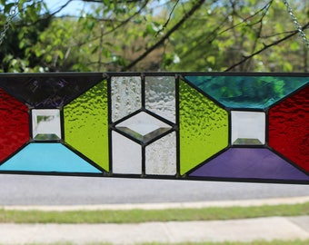 Leaded stained glass panel home decor decoration bevel blue red green purple vertical horizontal