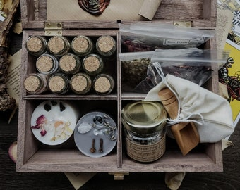 Complete Witch Altar Divination Kit with Dried Herbs, Crystals Curio Vials