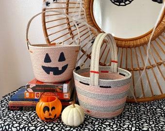 Cotton Rope Basket with handle- Handmade - Halloween Basket- Jack O Lantern Pumpkin
