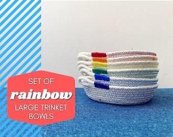 Set of 6 - Rainbow Large Trinket Bowls- Cotton Rope Bowl