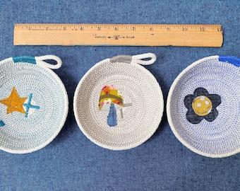 Embellished Trinket Bowl- Star, Mushroom, Flower - cotton rope bowl
