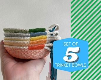SET OF 5 Trinket Bowls- Plain/Heart/Mushroom/Star/Apple - cotton rope bowl
