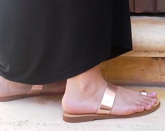97ba3fcff86dd0 Handmade Leather Toe ring slides in Rose gold leather