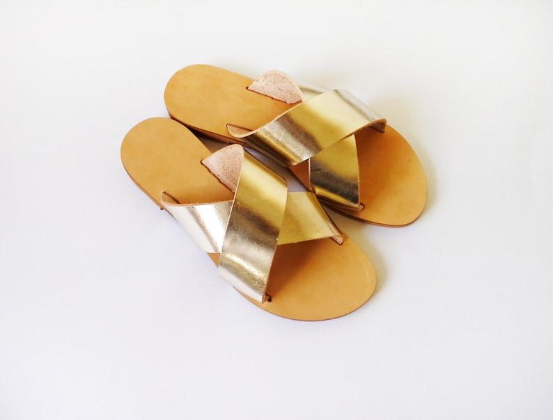 d8eb2d1d39eba Metallic Mirror Criss cross Leather Sandals in Gold colour, greek sandals,  Greece sandals, slides, Women sandals - More colours available